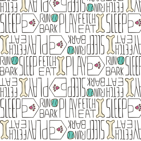 Dog's Life - Pets White Pink & Tiffany Blue fabric by heatherdutton on Spoonflower - custom fabric