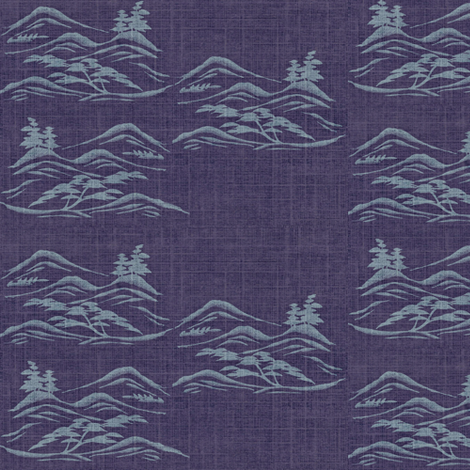 Asian inscape, light/dark purple  fabric by materialsgirl on Spoonflower - custom fabric