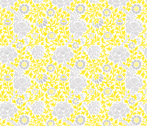 Gray and Yellow Retro Floral Damask fabric by sweetzoeshop on Spoonflower - custom fabric