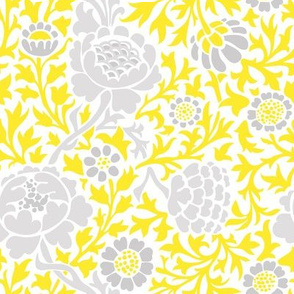 Gray and Yellow Retro Floral Damask
