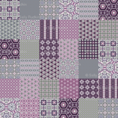 "Lavender Garden Stitched Cheater Quilt - 3"" Squares"