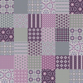 "Lavender Garden Stitched Cheater Quilt - 3"" Squares"