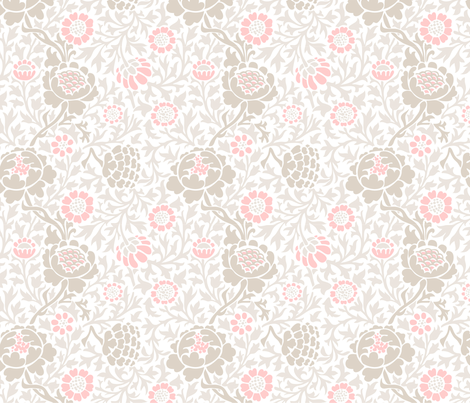 Light Pink and Linen Retro Floral Damask fabric by sweetzoeshop on Spoonflower - custom fabric