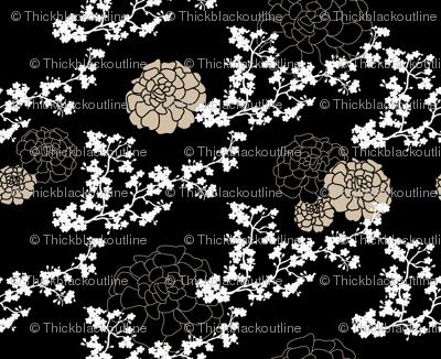 cherry blossoms & marigolds