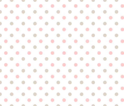 Light Pink and Linen Polka Dots fabric by sweetzoeshop on Spoonflower - custom fabric