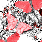Moth Ridden Botanical ~ Red, Black & White and Tight