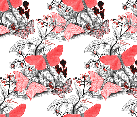Moth Ridden Botanical ~ Red, Black & White fabric by peacoquettedesigns on Spoonflower - custom fabric