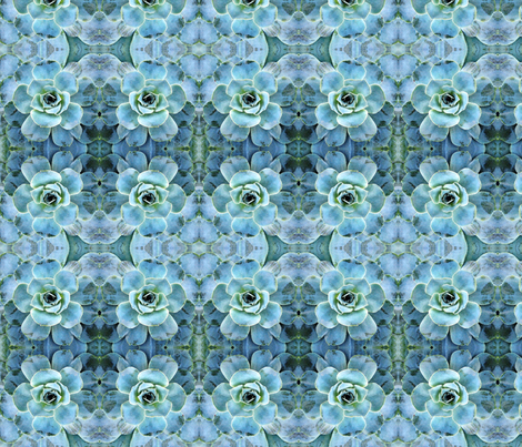 Aqua Succulent Recolored 2013 fabric by falcon11 on Spoonflower - custom fabric