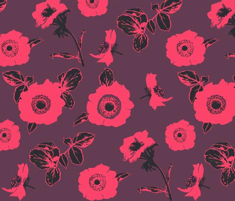 anemone dark purple fabric by katarina on Spoonflower - custom fabric