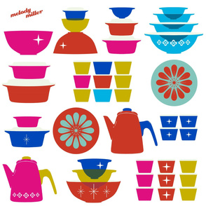 vintage dishes wall decal