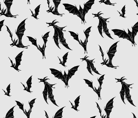 Night Hunters - black fabric by thecalvarium on Spoonflower - custom fabric