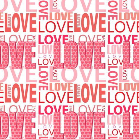 Pink Love Word Design fabric by lesrubadesigns on Spoonflower - custom fabric