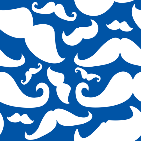 Mustache Man Blue and White fabric by lesrubadesigns on Spoonflower - custom fabric