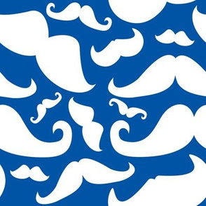 Mustache Man Blue and White