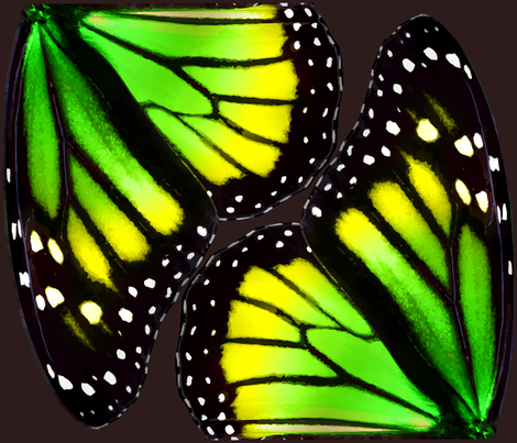Green-Yellow Gradient Monarch Butterfly Wings fabric by bonnie_phantasm on Spoonflower - custom fabric