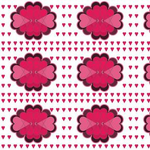 Pink Valentine Hearts on White