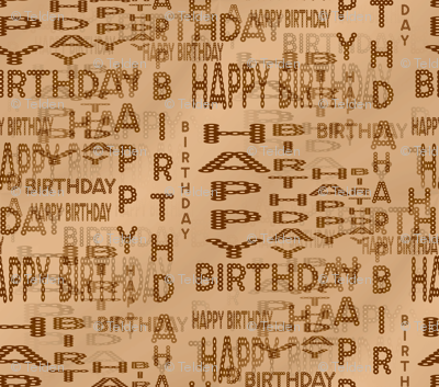 Happy Birthday Marquee Words - Sepia