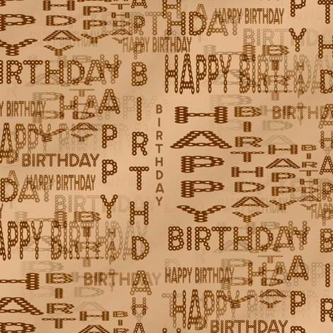 Happy Birthday Marquee Words - Sepia fabric by telden on Spoonflower - custom fabric