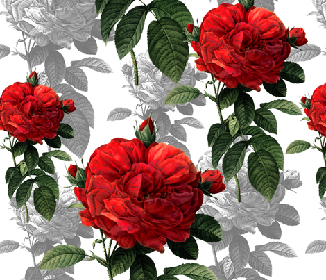 Redoute' Roses ~ Red and Grey fabric by peacoquettedesigns on Spoonflower - custom fabric