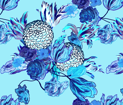 Blueming Flowers! ~ Turquoise fabric by peacoquettedesigns on Spoonflower - custom fabric