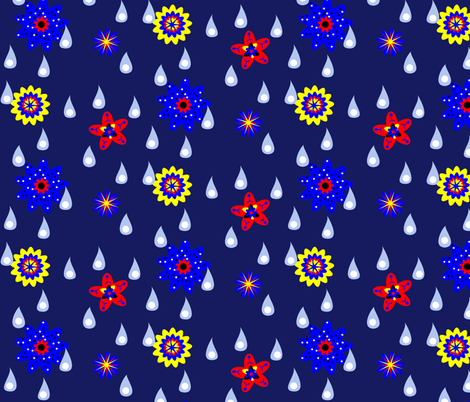 Rain and Fairy Flowers - Night fabric by telden on Spoonflower - custom fabric