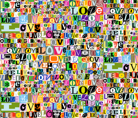 Letters of L-O-V-E  || valentine valentines day love collage ransom note romance alphabet typography fabric by pennycandy on Spoonflower - custom fabric