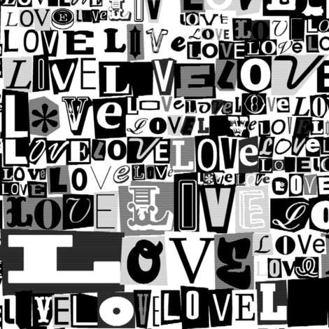 Letters of L.O.V.E. (Photocopy)  || valentine valentines day love collage ransom note romance alphabet typography collage punk emo black and white fabric by pennycandy on Spoonflower - custom fabric