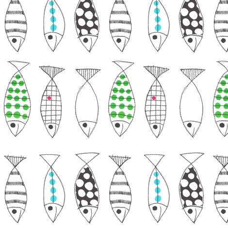 Scandinavian fish fabric by syko on Spoonflower - custom fabric