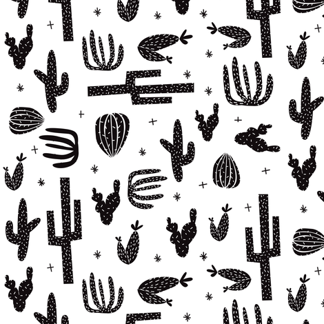 cactus black and white fabric by laurawrightstudio on Spoonflower - custom fabric