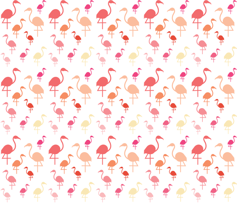 Flamingos in pink / coral / lemon on white  fabric by little_fish on Spoonflower - custom fabric