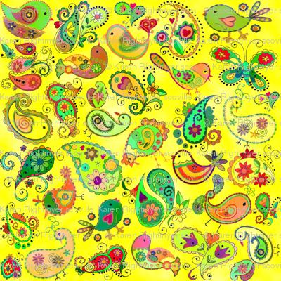 paisley birds -  yellow