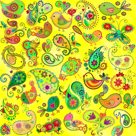 paisley birds -  yellow fabric by krs_expressions on Spoonflower - custom fabric