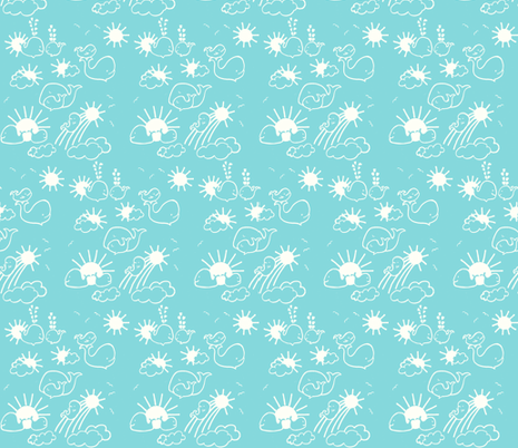 You Are My Sunshine Whales in Aqua and White fabric by kbexquisites on Spoonflower - custom fabric