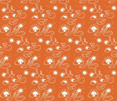 You Are My Sunshine Whales in Orange and White fabric by kbexquisites on Spoonflower - custom fabric