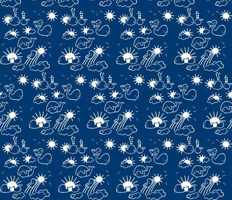 You Are My Sunshine Whales in Indigo Blue and White fabric by kbexquisites on Spoonflower - custom fabric
