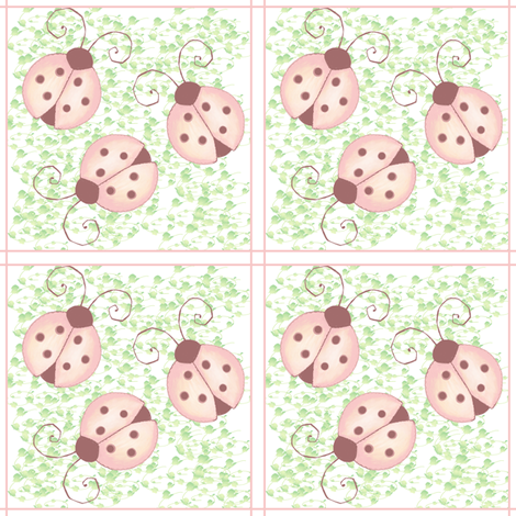 pink ladybugs fabric by krs_expressions on Spoonflower - custom fabric