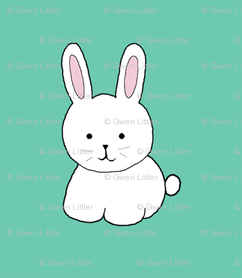 Cottontail in Teal