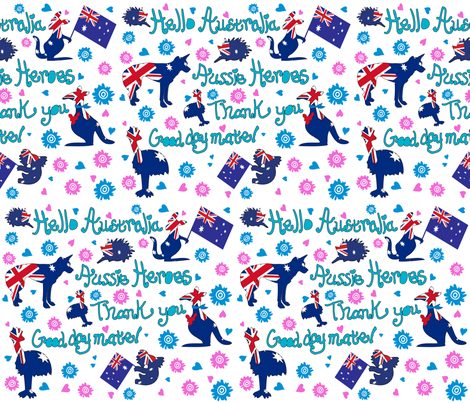 Aussie-Heroes Thank you fabric by cutiecat on Spoonflower - custom fabric
