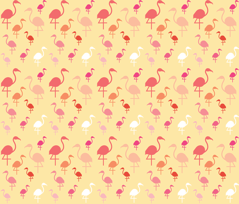 Flamingos on Lemon fabric by little_fish on Spoonflower - custom fabric