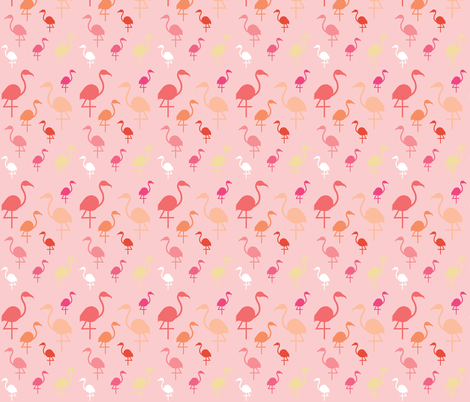Flamingos on Pale pink fabric by little_fish on Spoonflower - custom fabric