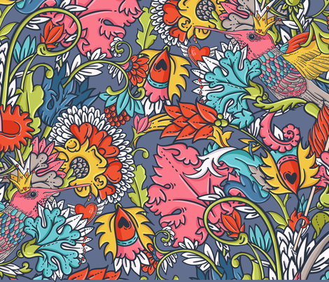Vintage floral seamless pattern with bird fabric by tomuato on Spoonflower - custom fabric