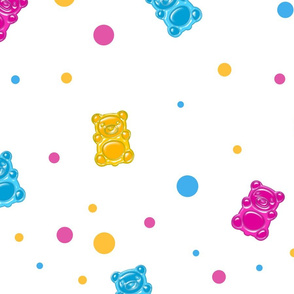Seamless pattern with jelly bears