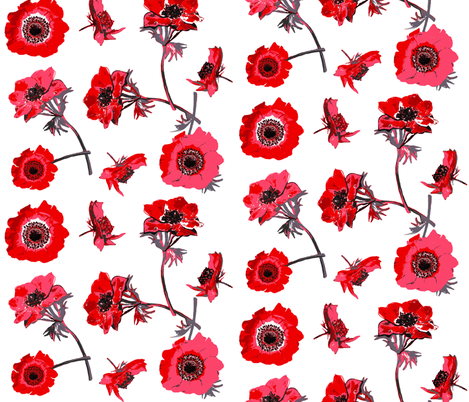 anemones red and white fabric by katarina on Spoonflower - custom fabric