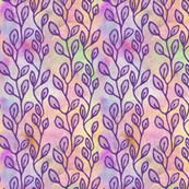 Continuous leaf pattern - purple on colorful background