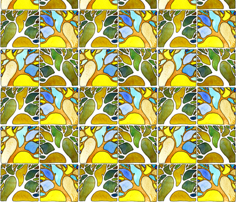 Leaning trees in watercolors fabric by martaharvey on Spoonflower - custom fabric