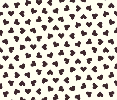Dark chocolate hearts on cream fabric by victorialasher on Spoonflower - custom fabric