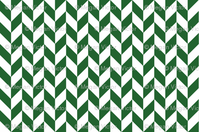 Small Green-White Herringbone