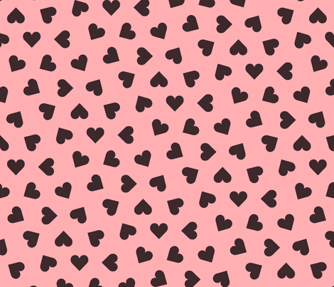 dark chocolate hearts on pink fabric by victorialasher on Spoonflower - custom fabric