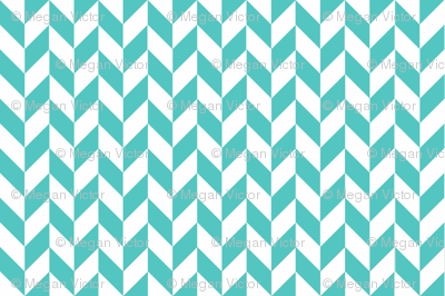 Small Teal-White Herringbone