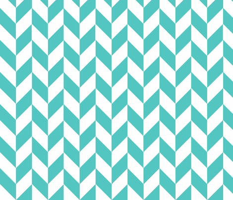 Small Teal-White Herringbone fabric by gates_and_gables on Spoonflower - custom fabric